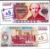 ARGENTINA 5000 5,000 PESO ON 5 AUSTRALES P 321 UNC - Argentinië