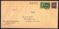 1927  Registered Letter To USA In OHMS Cover Fathers Of Confederation Sc 142, Sir Laurier Sc 144 - Cartas