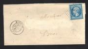 FRANCE 1864 N° 22 Obl. S/Lettre Entiére GC 666 & C à D Bucquoy + Cachet De Facteur - 1862 Napoleon III