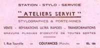 BUVARD COUTANCES  1 RUE TOURVILLE ATELIERS SERVIT STYLOS - Buvards, Protège-cahiers Illustrés