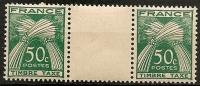FRANCE - Timbres Taxe N°80 Neufs Sans Charnière En Paire Avec Inter Panneau - 1859-1955 Mint/hinged