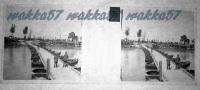 $3E13- WWI - Ponte Di Barche Di Colussa Dopo La Distruzione Del Ponte Militare... -  Vera Diapositiva In Vetro - Diapositiva Su Vetro