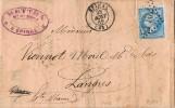 Carta Entera EPINAL 1866. Rombo Puntos 1402. - 1862 Napoléon III.