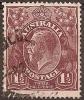AUSTRALIA -  1919  1½d King George V, Large Multiple Watermark (wmk 11). Scott 63a. Used - 1913-36 George V: Heads