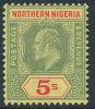 NORTHERN NIGERIA 1910 KING EDWARD VII 5 SHILLINGS SC# 37 THICK PAPER VF OG LH - Nigeria (1961-...)