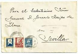 España 1938. Carta De Loja Al General Queipo De LLano. Censura. - Marcas De Censura Nacional