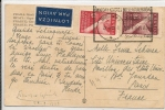 POLAND -VF 1948 POSTCARD From WROCLAW To PARIS - Mechanicall Cancel SWIATOWI KONGRES INTELEKTUALISTOW - Yvert # 522/3 - - Machine Stamps (ATM)