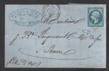 FRANCE 1868 N° 22 Obl. S/Lettre Entiére GC 92 & C à D Andelot - 1862 Napoleon III