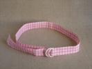 Ceinture de coton vichy rose, ann�e 50-60. Voir photos.