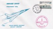 1978 1er VOL MIRAGE 2000 DASSAULT BREGUET Lettre Obl ISTRES + 0.25 Ecole De L'Air Salon De Provence (2) - Airplanes