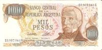 BILLETE DE ARGENTINA DE 1000 PESOS DEL AÑO 1977   (BANKNOTE-BANK NOTE) - Argentina