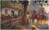AK MILITARIA WELTKRIEG 1914-1915. �STERR.-UNG.ULANEN-PATROU ILLE VOR EINEM RUSSISCHEN BAUERNHAUS OLD POSTCARD 1916