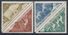 Tchad Chad Tschad 1962 Mi T25-26 ** Rock Engravings In Tibesti Mountains / Prähistorische Felsgravierungen - Archeologie