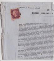 1858 - RARE LETTRE PUB En ITALIEN SOUS BANDE (SANS LA BANDE) De LONDON - COUPURES (LETTRE PURIFIEE ?) - Covers & Documents