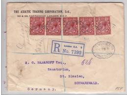 1923 - ENVELOPPE RECOMMANDEE CHARGEE De LONDON Pour ST BLASIEN (SCHWARZWALD) - 1902-1951 (Rois)