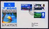 1967  First BOAC Flight Australia - Fiji- USA- England  Eustis 1604   England  To Fiji  Cover With Original Insert - 1952-.... (Elizabeth II)