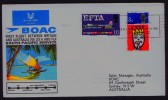 1967  First BOAC Flight Australia - Fiji- USA- England  Eustis 1602   England  To Australia  Cover With Original Insert - 1952-.... (Elizabeth II)