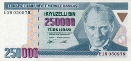TURKEY 250000 L.211 1970 ATATURK FORTRESS TREE UNC NOTE - Turquie