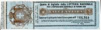 BIGLIETTO LOTTERIA NAZIONALE ESPOSIZIONE GENERALE ANNO 1898 TORINO - Billetes De Lotería