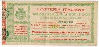 BIGLIETTO LOTTERIA ITALIANA FEDERAZIONE NAZIONALE SOCIEà E SCUOLE PUBBLICA ASSISTENZA E SOCCORSO ROMA ANNO 1919 - Billetes De Lotería