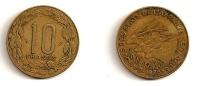 10 Francs – Etats De L'Afrique Centrale – 1975 – Elans – Aluminium Bronze – Etat TB – KM 9 - Monnaies