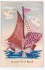 20640 Souvenir Du Ier Avril, Bateau Poisson . Colombe. Sans Doute Peinte à La Main. Decoupage - Bateaux