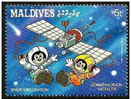 Maldivas 1988 Scott 1275 Sello ** Walt Disney Espacio Exploración Espacial Satelite De Telecomunicaciones 5L Maldives - Disney