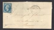 FRANC1865 N° 22 Obl. S/Lettre Entiére GC 455 & C à D Bertincourt - 1862 Napoleon III