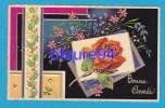Bonne Année   Motif Fleuri   Carte Gauffrée - Neujahr