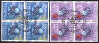 Zu 1027-1028 POISSON ARC-EN-CIEL Bloc 4 Obl. 1er Jour SBK 19,80 - Switzerland