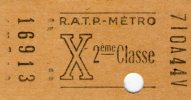 Ticket RATP - METRO , X , 2 éme Classe - Métro