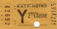 Ticket RATP - METRO , Y , 2 éme Classe - Métro