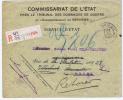 Belgie  Aangetkende Brief Verviers -> Heusy -> Brussel-> Retour, Dienstbrief Herstelbetalingen
