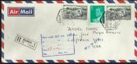 MADRID CC CERTIFICADA A USA CON MAT HEXAGONAL CORREO AEREO CERTIFICADO (VARIANTE LETRAS) AL DORSO MAT LLEGADA SELLOS CID - Poste Aérienne