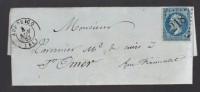 FRANCE 1863 N° 22 Obl. S/Lettre Entiére GC 218 & C à D Audruicq - 1862 Napoléon III