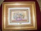 ART,PEINTURE SIGNEE  AVEC TRES BEAU CADRE DOREE,ARTISTE PEINTRE ELVI,POT DE FLEURS,été,NATURE - Oils