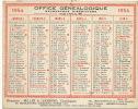 Calendrier 1954 15,5 Par 12 Cms Office Genealogique Beller , Lhomond Bd Magenta Paris 10 - Calendars