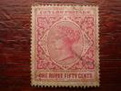 CEYLON 1899-1900 Q. VICTORIA ONE RUPEE FIFTY CENTS ROSE Per.14 USED. - Ceylon (...-1947)
