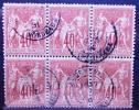 Sage Bloc De 6 Peu Courant 40 C Rouge Orange 1 Angle Défectueux En Bas à Gauche - 1876-1898 Sage (Type II)