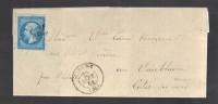 FRANCE 1864 N° 22 Obl. S/Lettre Entiére GC 735 & C à D Carhaix - 1862 Napoleon III