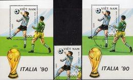 Pokal Italien 1990 Vietnam 2087+Block 72 **/o 7€ Fußball Spielszene Stürmer Ball Ss Blocs Sheets Soccer Bf Viet Nam - Viêt-Nam