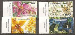 Singapore Scott # 985-88 MNH. Flowers. Joint Issue With Switzerland 2001 - Emissioni Congiunte