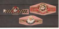Bagues De Cigares / Lot De 3 Elisabeth BAS (PortraitS De Rembrandt) 3 Tailles Différentes (sur Carton Fragment) Bon Etat - Sigarenbandjes