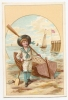 Chromo Chaussures Pottier Rue Thiers Havre Enfant Canot Canoe Barque Pagaie Mer Plage Port Voilier Canotier A15-183 - Chromos
