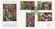 1976  Surinam Paintings   Sc454-7  FDC - Surinam