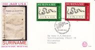 1976  USA Bicentennial  Sc458-9  FDC - Surinam
