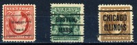 3 Different Very Old United States Precancels With INVERTED OVERPRINTS, Boston,Chicago And Westgrove Penna. - United States