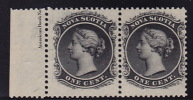 One Cent Black Sc 8a MNH Pair With Part Side Imprint - Nova Scotia