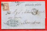 ESPAGNE LETTRE DE 1869 DE SARAGOSSE POUR BARCELONE - 1868-70 Gobierno Provisional