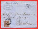 ESPAGNE LETTRE DE 1869 DE GERONA POUR BARCELONE - 1868-70 Gobierno Provisional